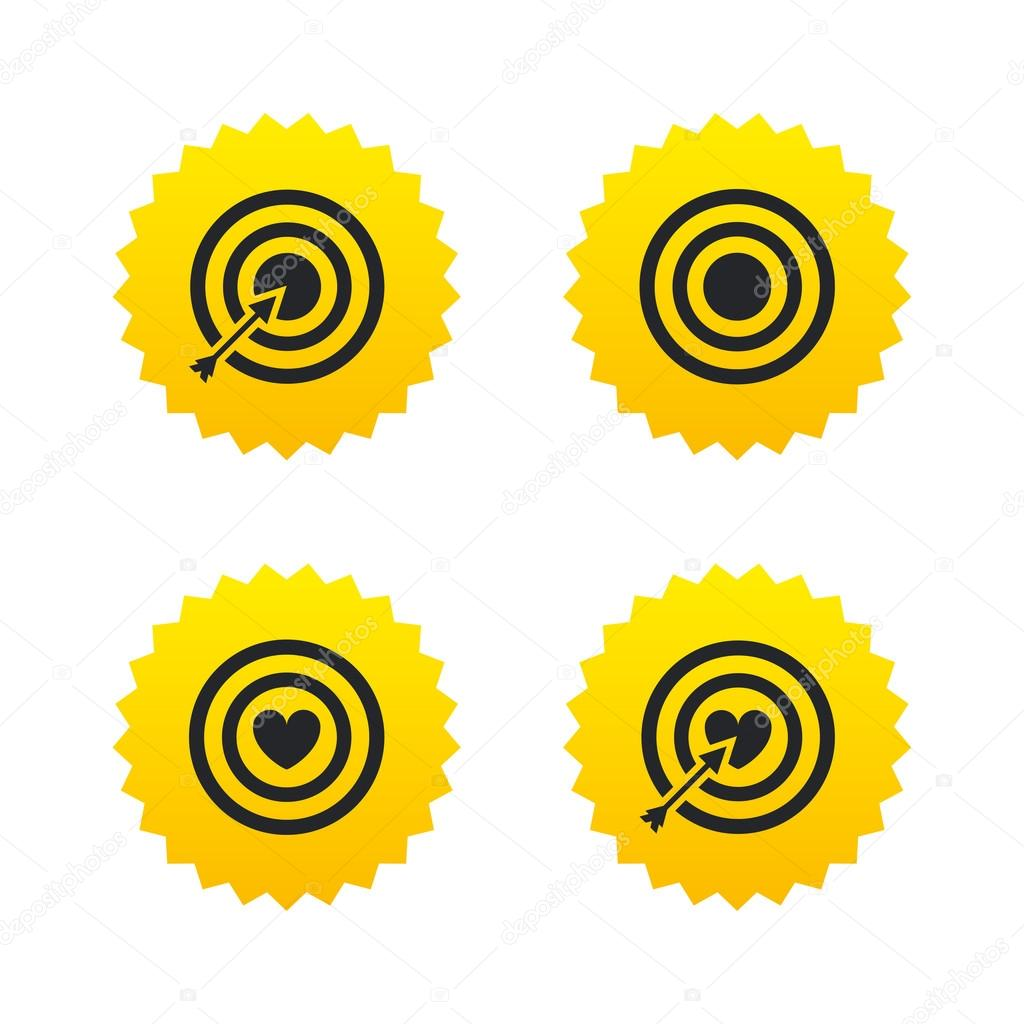 Target aim icons  Darts board signs symbols  — Stock Vector