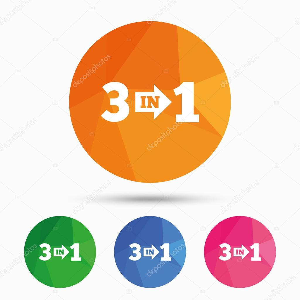 three in one sign icon 3 in 1 symbol with arrow stock vector