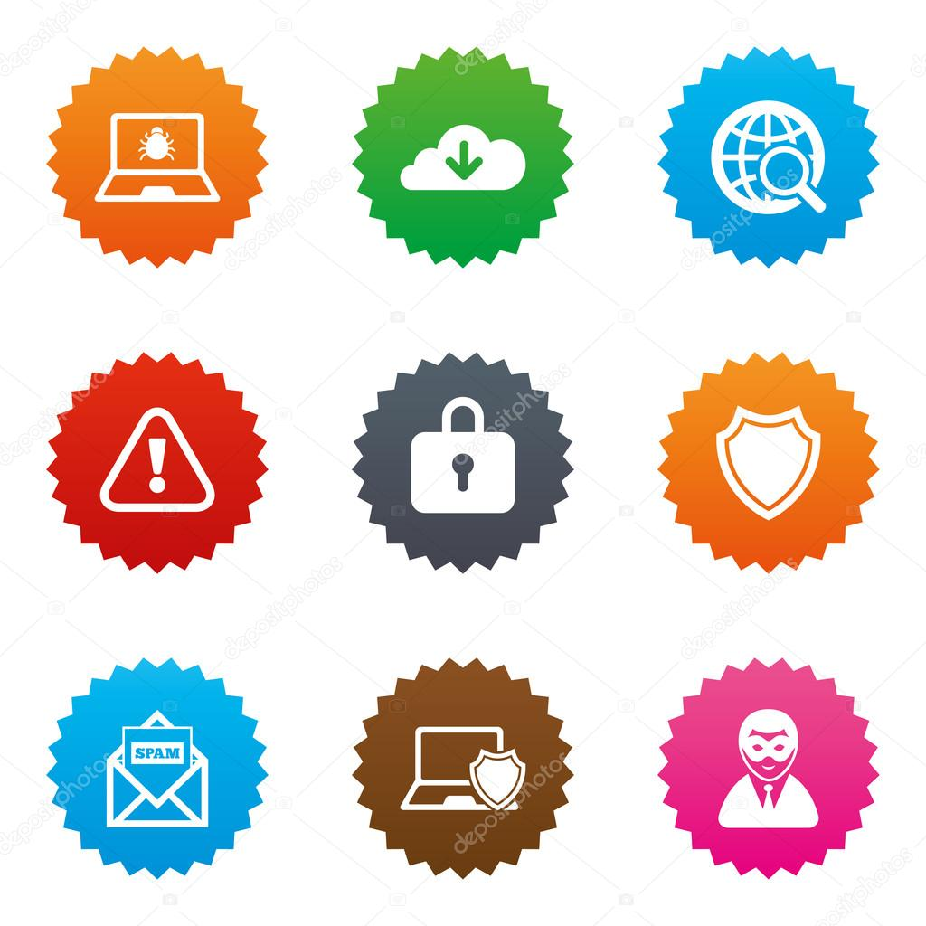Internet Privacy Icons Cyber Crime Signs Stock Vector