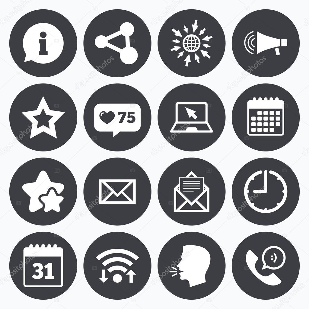 Communication icons contact mail signs stock vector calendar wifi and clock symbols like counter stars symbols communication icons contact mail signs e mail information speech bubble and calendar biocorpaavc Gallery