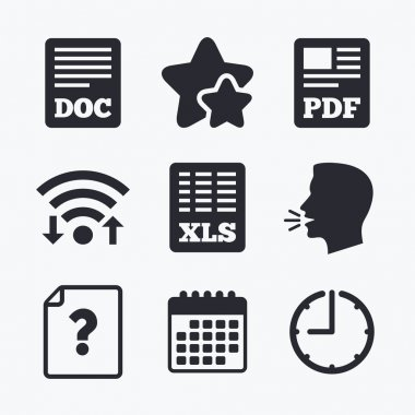Document icons. XLS, PDF file signs.