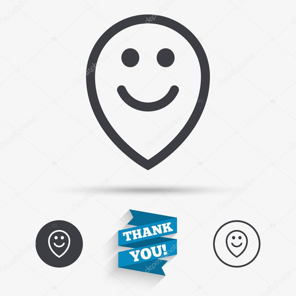 Happy Face Map Pointer Symbol Smile Icon Stock Vector