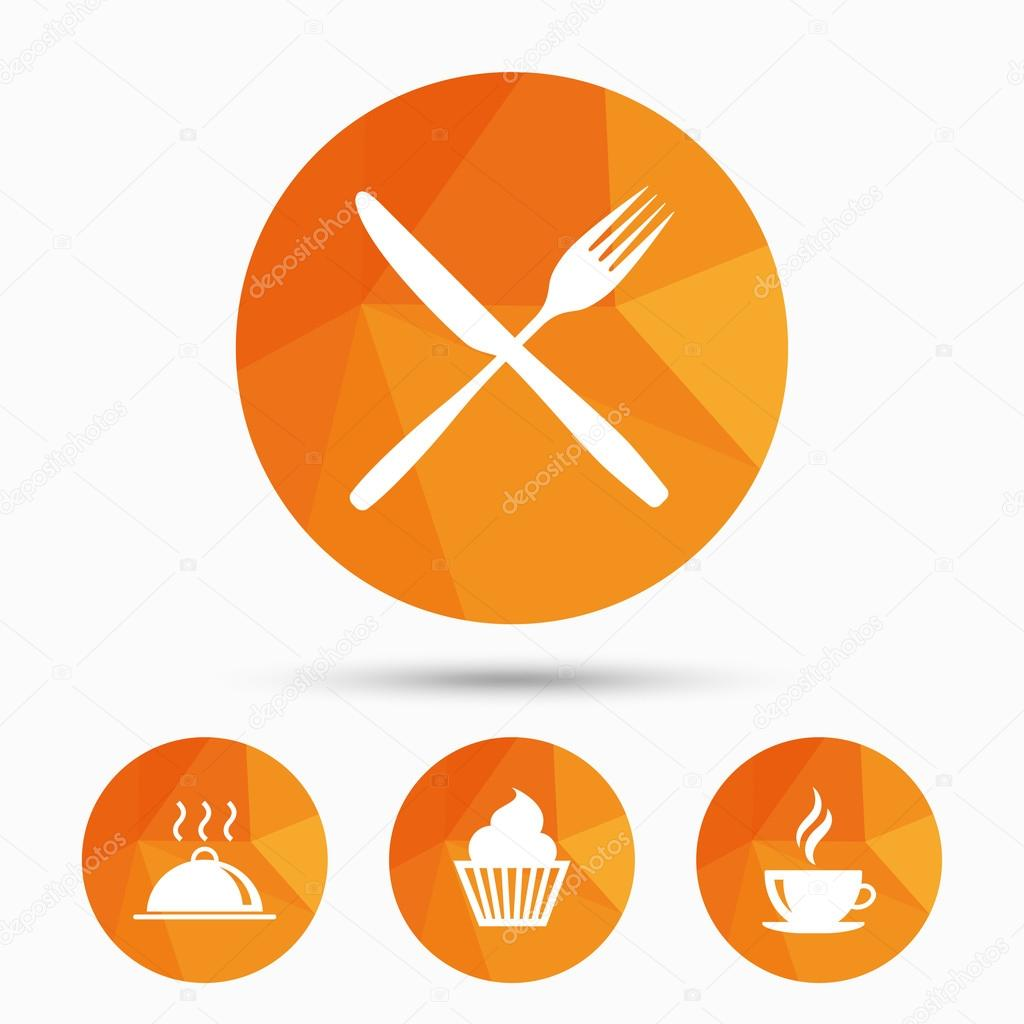 Food Icons Muffin Cupcake Symbol Fork Knife Stock Vector