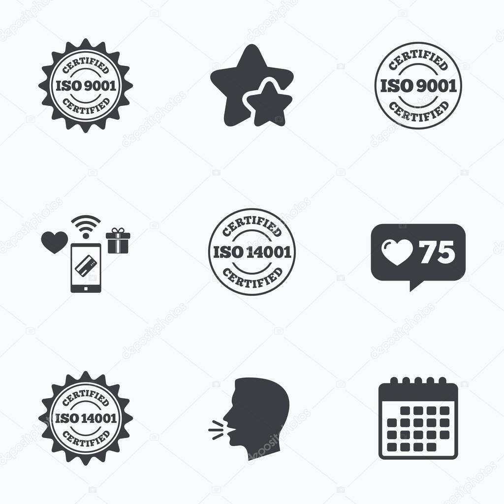 Iso 9001 And 14001 Certified Icon Certification Stock Vector