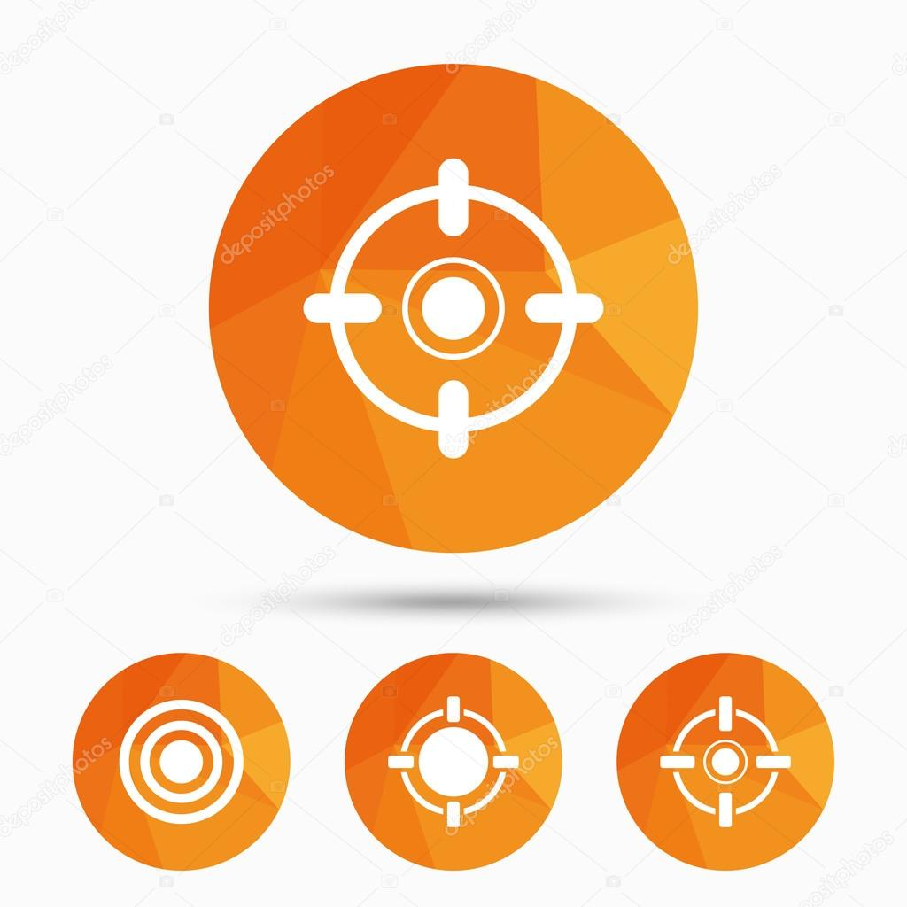 Crosshair icons target aim signs symbols stock vector target aim signs symbols weapon gun sights for shooting range triangular low poly buttons with shadow vector vector by blankstock buycottarizona Choice Image