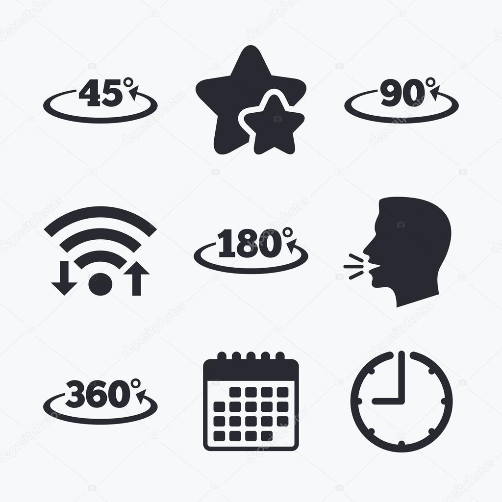 Angle degrees icons geometry math signs stock vector geometry math signs symbols full complete rotation arrow wifi internet favorite stars calendar and clock talking head vector vector by blankstock buycottarizona Image collections