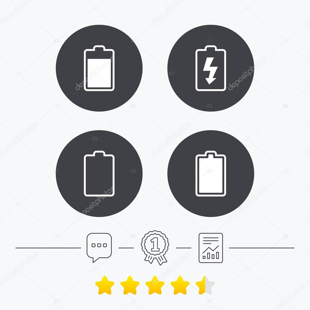 Battery charging icons. Electricity symbol. — Stock Vector ...