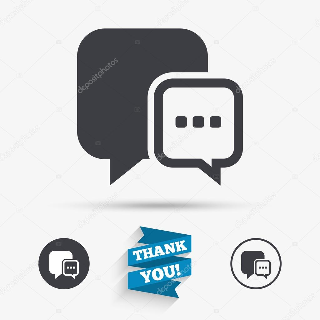 Chat sign icon speech bubble symbol stock vector blankstock speech bubble with three dots symbol communication chat bubble flat icons buttons with icons thank you ribbon vector vector by blankstock biocorpaavc