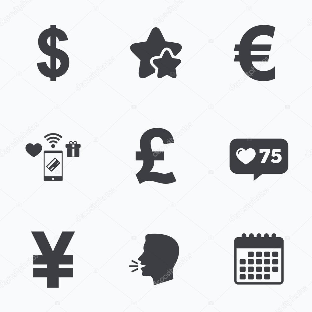 Dollar euro pound and yen currency icons stock vector usd eur gbp and jpy money sign symbols flat talking head calendar icons stars like counter icons vector vector by blankstock biocorpaavc Gallery