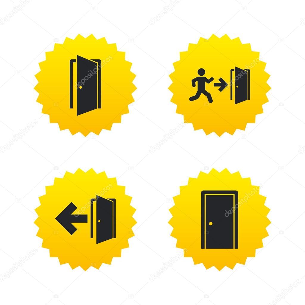 Doors Signs Emergency Exit With Arrow Symbol Stock Vector