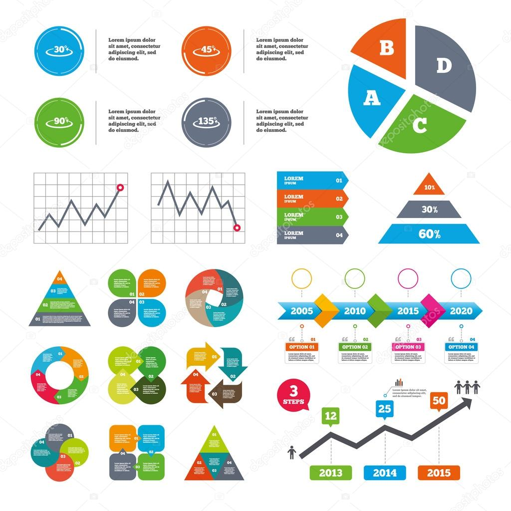 Angle degrees icons geometry math signs stock vector angle 30 135 degrees icons geometry math signs symbols full complete rotation arrow presentations diagrams vector vector by blankstock ccuart Gallery