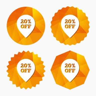 20 percent sale pointer tag sign icon.