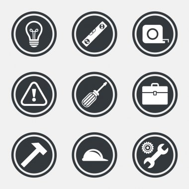 Repair, construction icons. Engineering, helmet and screwdriver signs. Lamp, electricity and attention symbols. Circle flat buttons with icons and border. Vector clip art vector