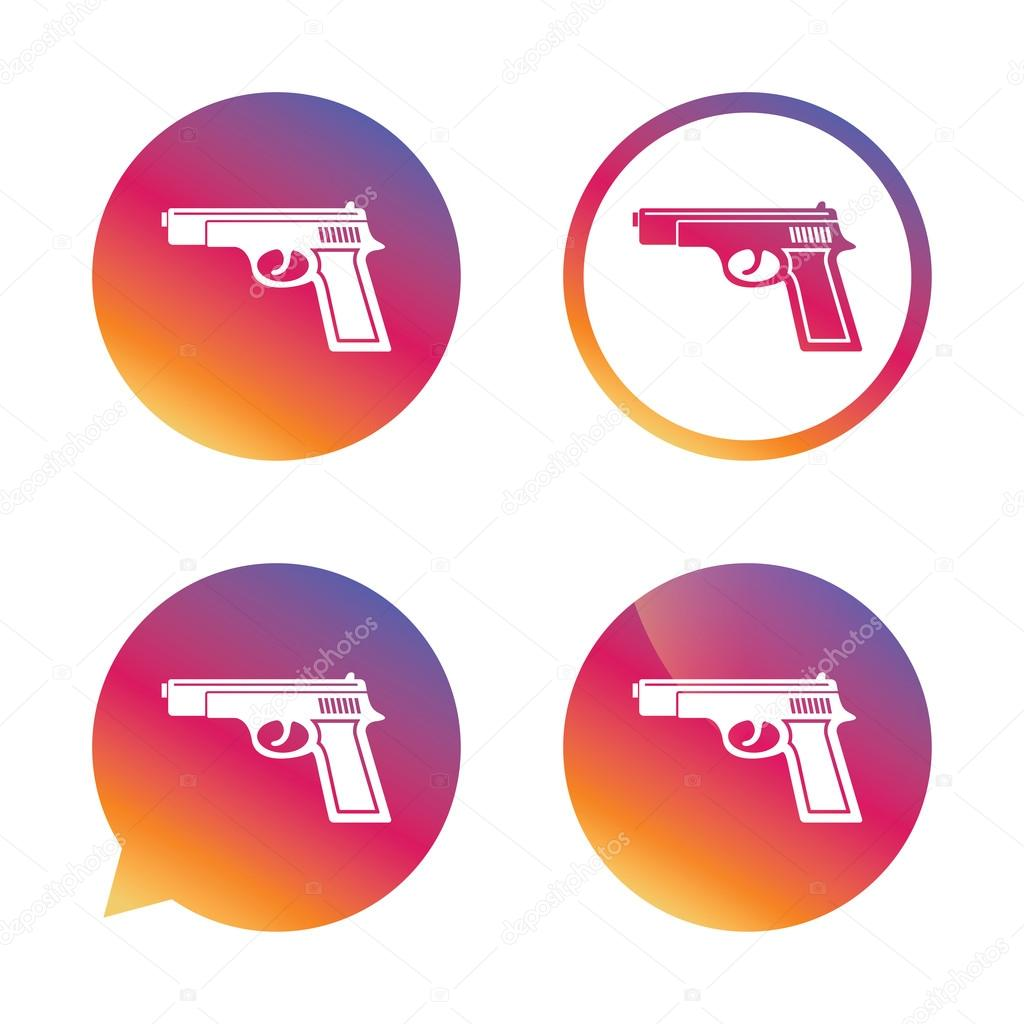 Gun sign icon firearms weapon symbol stock vector blankstock gun sign icon firearms weapon symbol gradient buttons with flat icon speech bubble sign vector vector by blankstock biocorpaavc