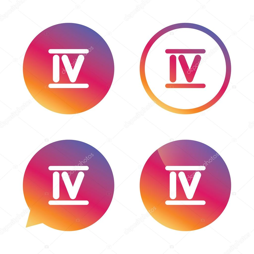 Numeral Romano Cuatro Icono Señal Romana Número Cuatro Vector De