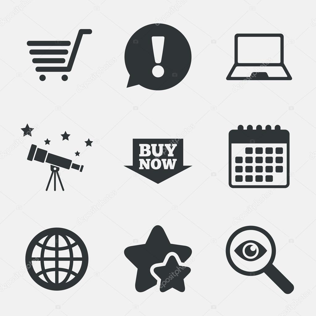 a1f5f90a667113 Icone di acquisto online. Pc notebook, carrello, Acquista ora segni freccia e  internet. Simbolo del globo www. Attenzione, indagare e icone delle stelle.