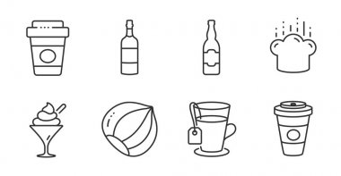 Takeaway coffee, Ice cream and Cooking hat line icons set. Brandy bottle, Hazelnut and Tea signs. Beer bottle, Takeaway coffee symbols. Hot latte drink, Sundae in glass, Chef. Vector icon