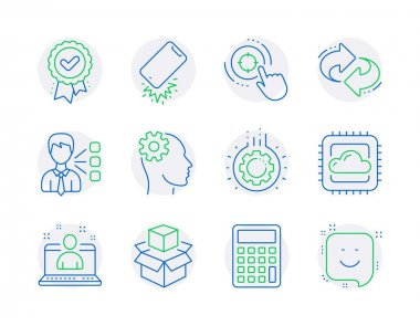 Technology icons set. Included icon as Engineering, Third party, Calculator signs. Seo target, Gear, Approved award symbols. Best manager, Refresh, Smartphone broken. Packing boxes, Smile. Vector icon