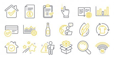 Set of Business icons, such as Approved checklist, Column chart, Packing boxes symbols. Operational excellence, House security, Beer signs. Touchscreen gesture, Payment methods, Search. Vector icon