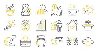 Set of Business icons, such as Packing boxes, Coffee cup, Ranking symbols. Creative idea, Cloud protection, Loyalty card signs. Quick tips, Moisturizing cream, Search. Approved, Leaves. Vector icon