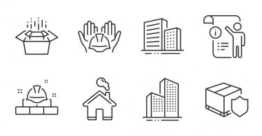 Delivery insurance, Skyscraper buildings and Home line icons set. Builders union, Packing boxes and Manual doc signs. Buildings, Construction bricks symbols. Quality line icons. Vector icon