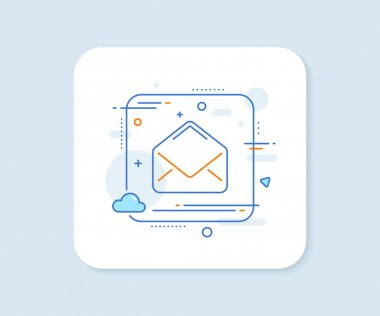 Mail line icon. Abstract square vector button. Message correspondence sign. E-mail symbol. Mail line icon. Quality concept badge. Vector icon