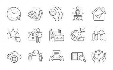 Receive file, Success and Time management line icons set. Consulting business, Search book and Cloud computing signs. Timer, Chemistry beaker and Vacancy symbols. Line icons set. Vector icon
