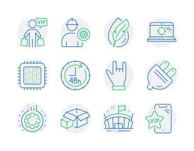 Business icons set. Included icon as Horns hand, Seo laptop, 48 hours signs. Hypoallergenic tested, Arena, Cpu processor symbols. Vip shopping, Engineer, Electric plug. Packing boxes, Gear. Vector icon