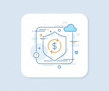 Currency exchange line icon. Abstract vector button. Money Transfer sign. Dollar in rotation arrow symbol. Usd exchange line icon. Protect shield concept. Vector icon