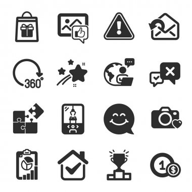 Set of Business icons, such as Winner podium, Reject, 360 degrees symbols. Usd coins, Report, Holidays shopping signs. Crane claw machine, Send mail, Photo camera. Puzzle, Smile face. Vector icon