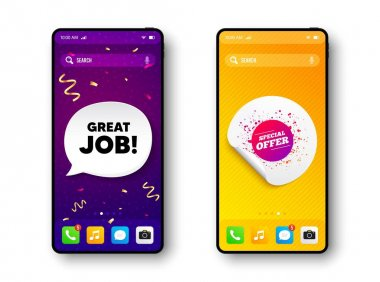 Special offer sticker. Phone mockup vector confetti banner. Discount banner shape. Sale coupon bubble icon. Social story post template. Great job speech buuble. Cell phone frame banner. Vector icon