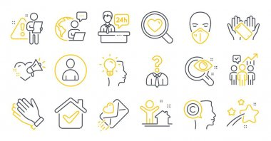 Set of People icons, such as Avatar, Medical mask, Vision test symbols. New house, Clapping hands, Business statistics signs. Idea, Reception desk, Love letter. Smartphone holding, Writer. Vector icon