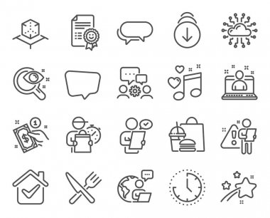 Business icons set. Included icon as Cloud network, Scroll down, Customer survey signs. Time, Messenger, Love music symbols. Food, Smile, Vision test. Best manager, Augmented reality. Vector icon
