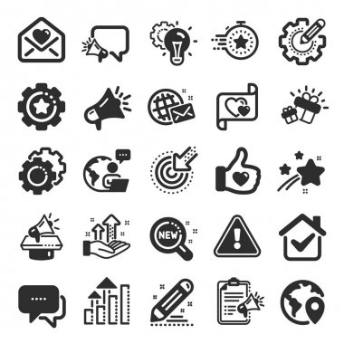 Brand social project icons. Business strategy, Megaphone and Representative. Influence campaign, social media marketing, brand ambassador icons. Innovation, gift, like sign. Flat icon set. Vector icon