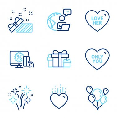 Holidays icons set. Included icon as Holiday presents, Only you, Heart signs. Balloons, Love her, Fireworks symbols. Online shopping, Present line icons. Gift boxes, Love heart. Line icons set. Vector icon