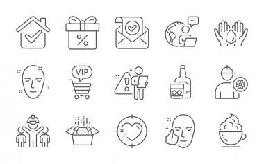 Healthy face, Discount offer and Confirmed mail line icons set. Engineer, Heart target and Whiskey glass signs. Coffee cup, Wash hands and Health skin symbols. Line icons set. Vector icon