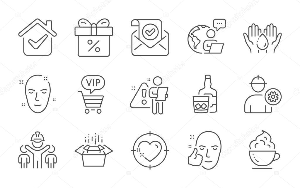 Healthy face  Discount offer and Confirmed mail line icons set icon
