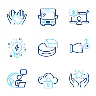 Technology icons set. Included icon as Smartphone holding, Online shopping, Bus signs. Pie chart, Ranking, Cloud protection symbols. Inspiration, Drag drop line icons. Phone, Internet buying. Vector icon