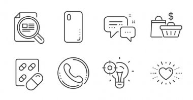 Check article, Smartphone cover and Seo idea line icons set. Sale bags, Capsule pill and Call center signs. Heart, Employees messenger symbols. Magnifying glass, Phone, Performance. Vector icon