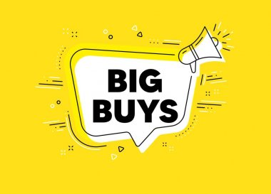 Big buys. Megaphone yellow vector banner. Special offer price sign. Advertising discounts symbol. Thought speech bubble with quotes. Big buys chat think megaphone message. Vector icon