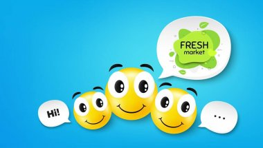 Fresh market food banner. Smile face with speech bubble. Organic bio product tag. Vegetarian eco icon. Smile face character. Fresh market speech bubble icon. Chat background. Vector icon