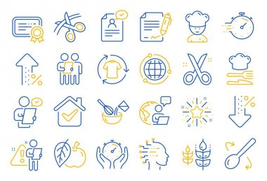 Chef hat, Customer survey, Fast delivery line icons. Approved application, Scissors cutting ribbon, Artificial intelligence icons. Percent decrease, interest rate, contract. Line icon set. Vector icon