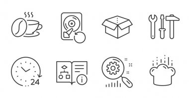 Coffee cup, Search statistics and Open box line icons set. Recovery hdd, Cooking hat and Spanner tool signs. 24 hours, Technical algorithm symbols. Roasted bean, Analysis, Delivery package. Vector icon