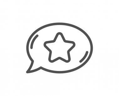 Favorite chat line icon. Speech bubble with star sign. Best symbol. Quality design element. Linear style favorite chat icon. Editable stroke. Vector icon