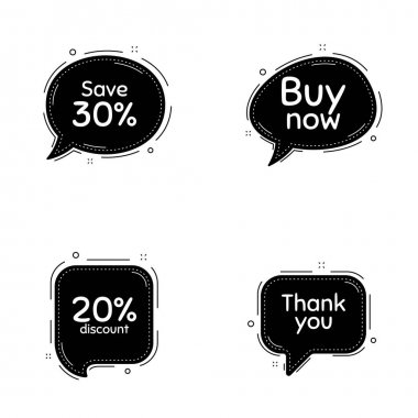 Buy now, 20% discount and save 30% phrases. Speech bubbles vector set. Sale shopping text. Thought speech balloon website element. Discount chat think bubbles. Thank you cloud message. Vector icon