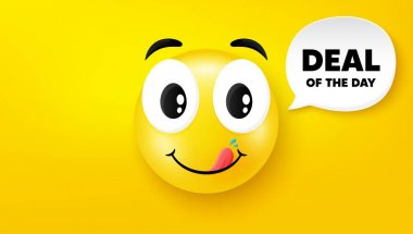 Deal of the day symbol. Yummy smile face with speech bubble. Special offer price sign. Advertising discounts symbol. Yummy smile character. Day deal speech bubble icon. Yellow face background. Vector icon