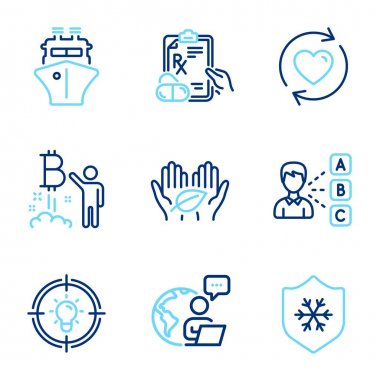 Line icons set. Included icon as Fair trade, Idea, Clean skin signs. Prescription drugs, Ship, Opinion symbols. Bitcoin project, Update relationships line icons. Safe nature, Solution. Vector icon