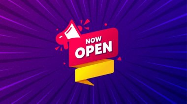 Now open banner. Purple background with offer message. Announcement notice tag. Megaphone message icon. Best advertising coupon banner. Now open badge shape. Abstract background. Vector icon