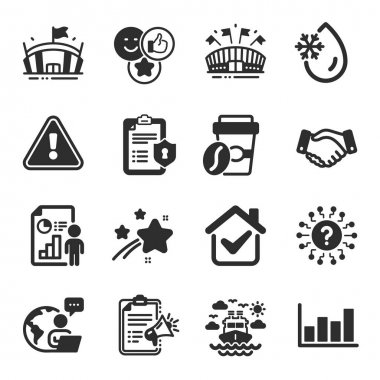 Set of Business icons, such as Arena, Takeaway coffee, Ship travel symbols. Privacy policy, Business report, Sports arena signs. Like, Report diagram, Question mark. Megaphone checklist. Vector icon