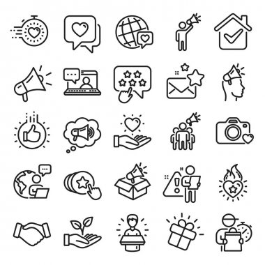 Brand ambassador line icons. Influence people, Megaphone and Representative. Handshake, influencer marketing person, social media like icons. Ambassador person. Brand pr. Line icon set. Vector icon